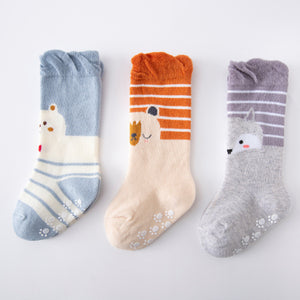 3 Pack Kids' Socks | non skid | Bear + fox
