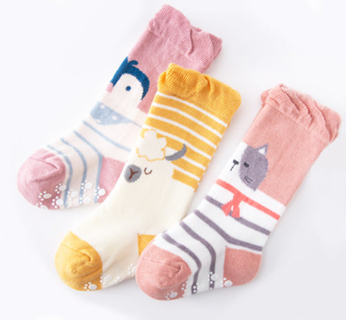 3 Pack Kids' Socks | non skid | Sheep Cat Penguin