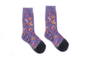 Crew Socks | Funky Socks - Purple Birds