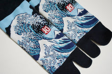 Japanese Tabi Ankle Socks | Great wave off kanagawa - Black