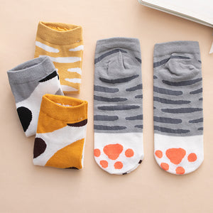 cat paws ankle socks cotton socks