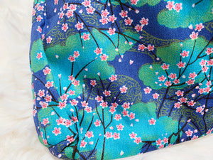 Japanese Knot bag / Wrist handbag - Floral (Green)