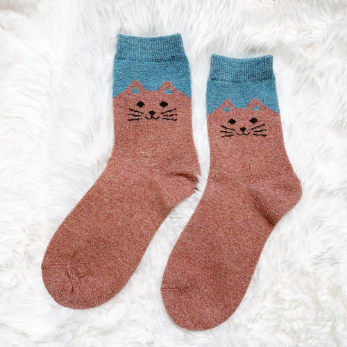 Cozy and Warm | Wool Socks | Pink Cat