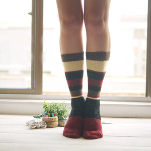 Wool and Cotton Blend Socks | Brown Stripes