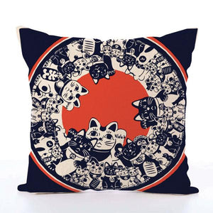 Square Toss Cushion Cover | Lucky Cats Maneki-Neko Navy - novmtl