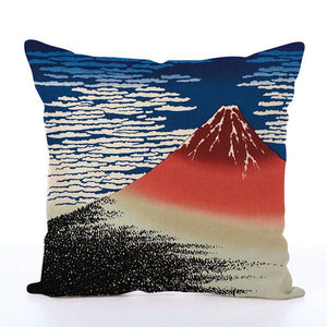 Square Toss Cushion Cover | Red Fuji Katsushika Hokusai - novmtl