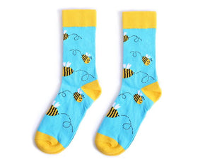bee socks funky socks cotton socks women's socks men's socks