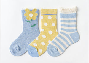 3 Pack Kids' Socks | Cotton | Blue Flower