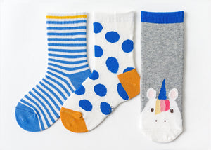 3 Pack Kids' Socks | Cotton | Blue Unicorn |Boutique novmtl