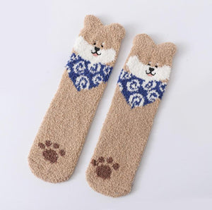 shiba socks kawaii dog cute room socks cozy at home
