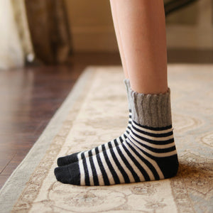 cashmere wool socks stripes cozy| cashmere wool socks stripes cozy| Boutique Local NOVMTL