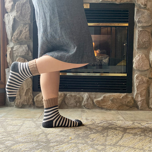 cashmere wool warm and itch free cashmere wool socks stripes cozy| Boutique Local NOVMTL