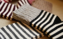 cashmere wool warm and itch free| cashmere wool socks stripes cozy| Boutique Local NOVMTL