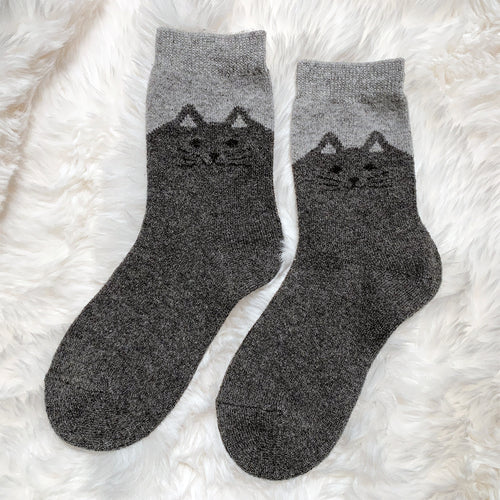 Cozy and Warm | Wool Socks | Grey Cat