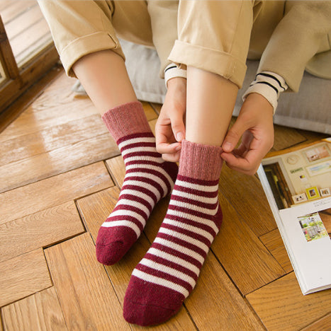 Chaussettes coton | Rayures rouges