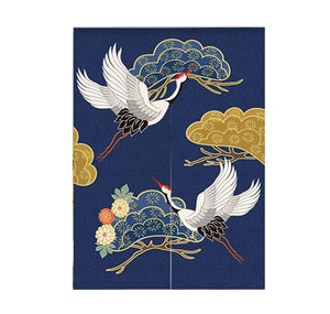 Noren | Curtain | Wall Hanging | Cranes Blue