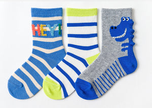 3 Pack Kids' Socks | Cotton | Dinosaur|Boutique novmtl