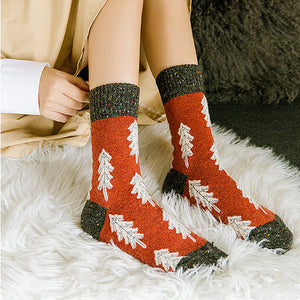 Holiday Special | Wool Socks | Pine Tree (Red)