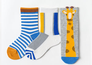 3 Pack Kids' Socks | Cotton | Giraffe|Boutique novmtl