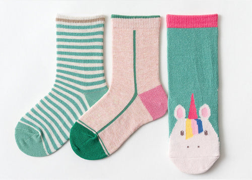 3 Pack Kids' Socks | Cotton | Green Unicorn|Boutique novmtl