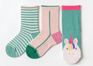 3 Pack Kids' Socks | Cotton | Green Unicorn