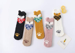 Kawaii Cute room socks-Brown Shiba