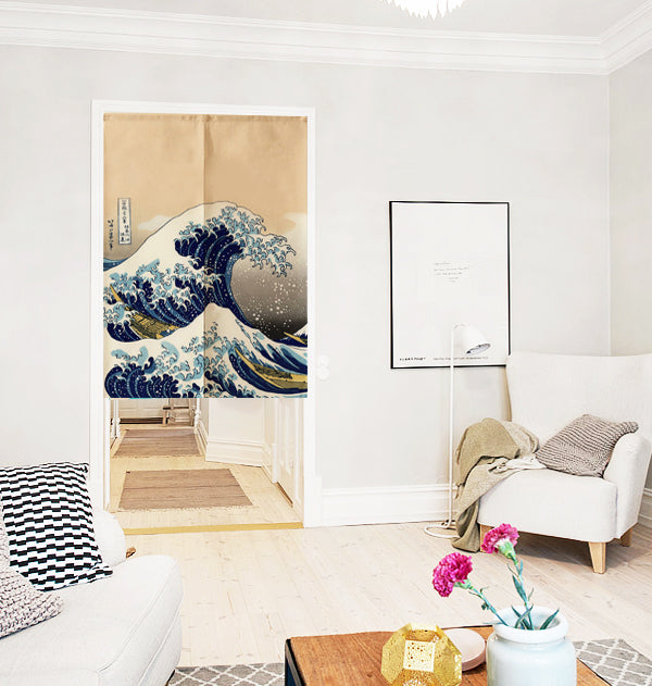 Noren | Curtain | Wall Hanging | Great wave off kanagawa