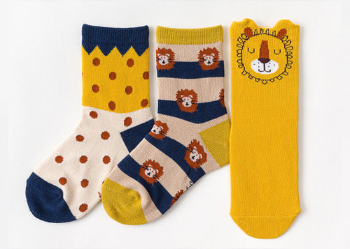 3 Pack Kids' Socks | Cotton | Lion|Boutique novmtl