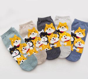 Kawaii Cute ankle socks-puppies beige
