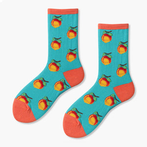 peach socks fruits kawaii socks funky socks