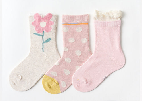 3 Pack Kids' Socks | Cotton | Pink Flower|Boutique novmtl