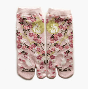 Japanese Tabi Ankle Socks | Rabbit Pink