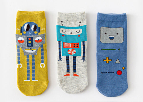 3 Pack Kids' Socks | Cotton | Robot|Boutique novmtl