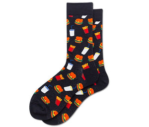 hamburger socks funky socks cotton