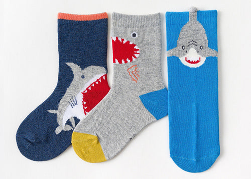 3 Pack Kids' Socks | Cotton | Shark|Boutique novmtl