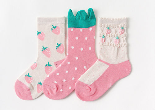 3 Pack Kids' Socks | Cotton | Strawberry| boutique local NOVMTL
