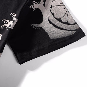 japanese design shirt |Tiger & Dragon embroidery T-Shirt (Black) - novmtl