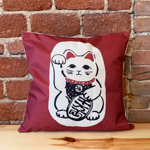 Square Toss Cushion Cover | Lucky Cats Maneki-Neko Red