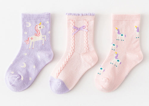 3 Pack Kids' Socks | Cotton | Purple Unicorn