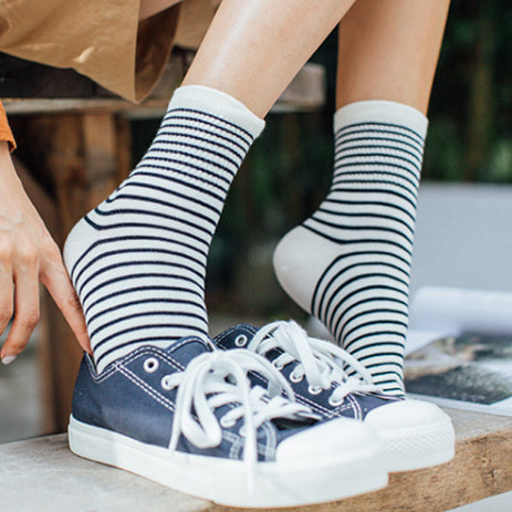 Chaussettes coton | Rayures blanches