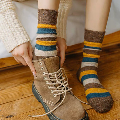 Cozy and Warm | Wool Socks | Brown Stripes