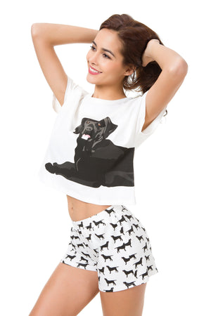 Set - Black Labrador Two Piece Pajama Set