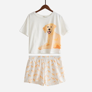 Set - Yellow Labrador Two Piece Pajama Set