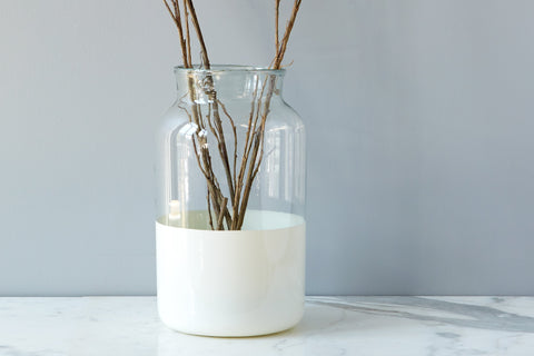 White Colorblock Mason Jar, Large - etuHome