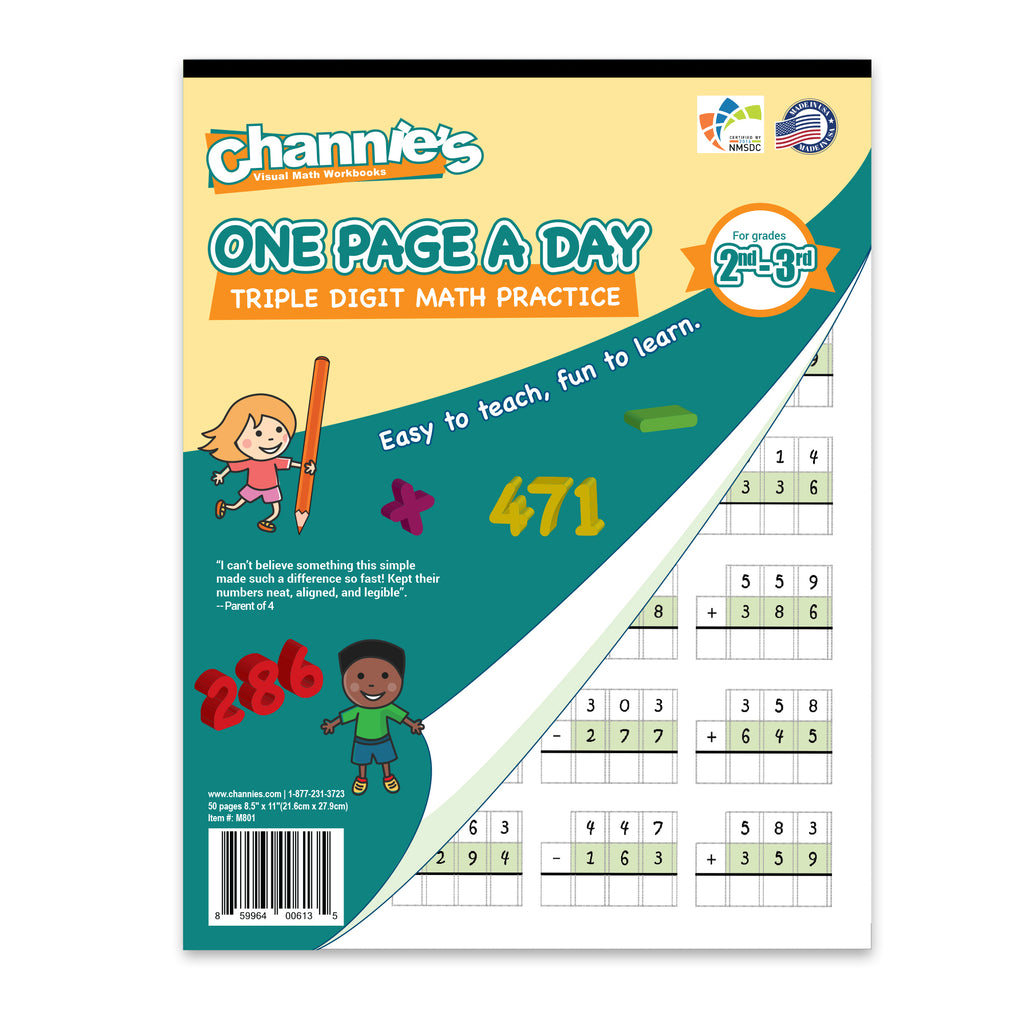 Channie\'s One Page A Day Triple Digit Math Workbook worksheet for ...