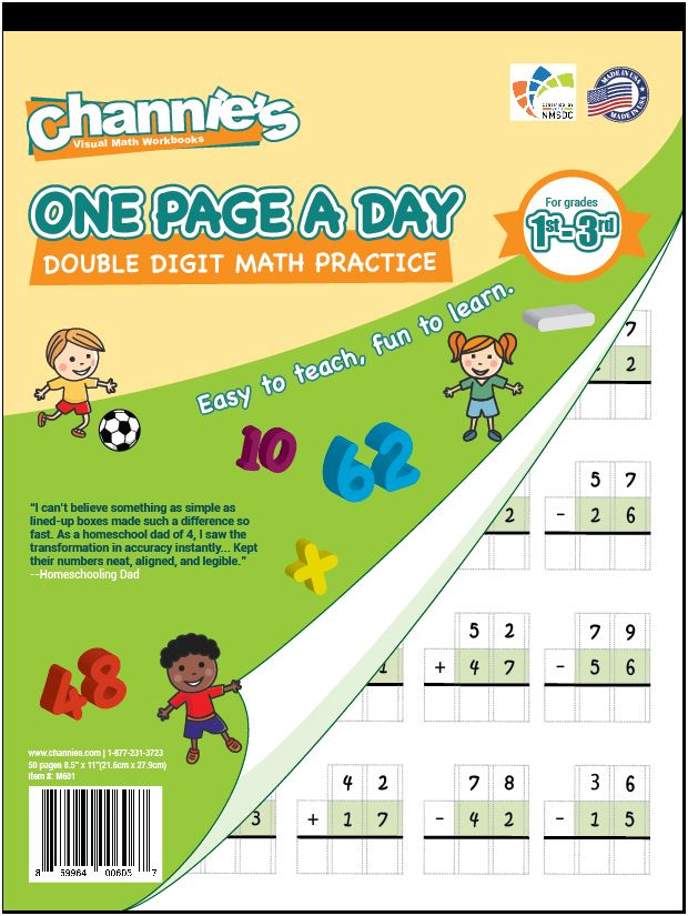 Channie\'s One Page A Day Double Digit Math Problem Workbook for 1st ...