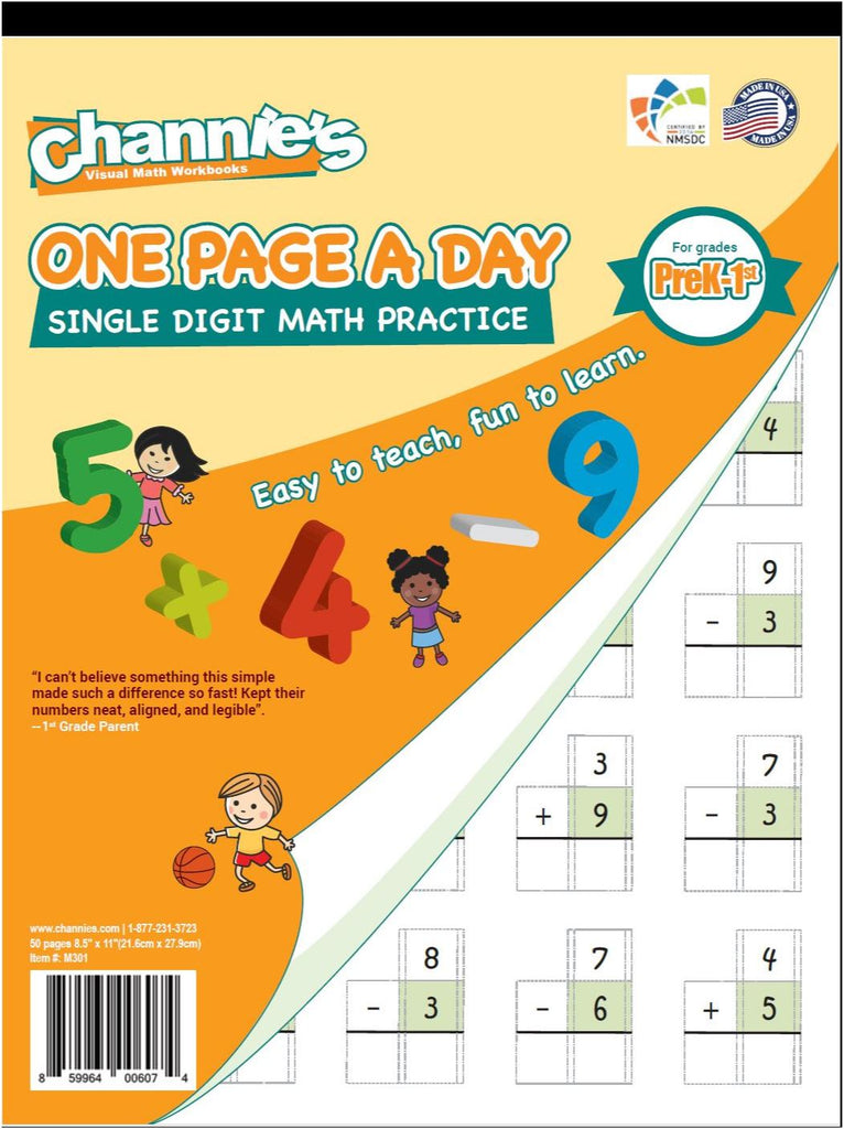 Channie\'s One Page A Day Single Digit Math Problem Workbook for Prek ...