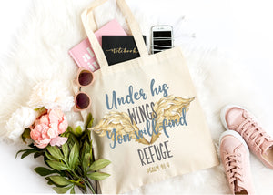 Under his wings you will find refuge christian tote bag