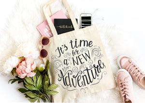 its time for a new adventure travel reusable tote bag