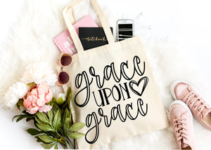 Grace upon grace bible christian tote bag